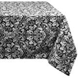 DII 100% Cotton, Machine Washable, Everyday Damask Kitchen Tablecloth for Dinner Parties, Summer & Outdoor Picnics - 60x104 Seats 8 to 10 People, Black