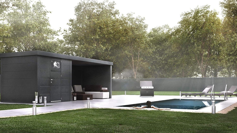 NOVO HABITAT Caseta de Jardin metálica NH4 con Apoyo | Antracita | (238 x 238) + (284 x 238): Amazon.es: Jardín