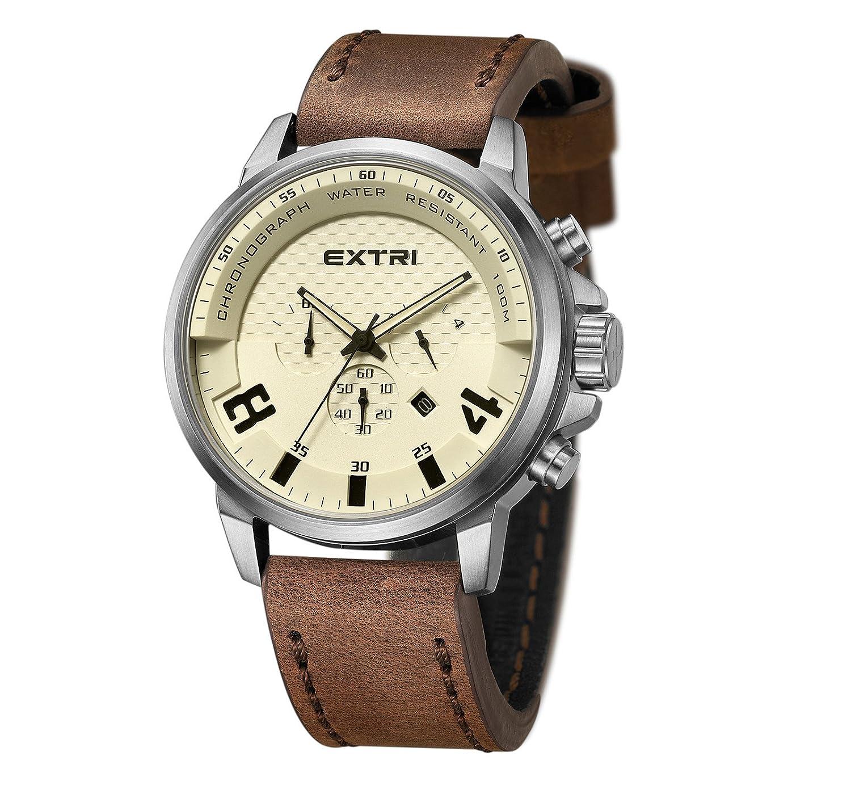 Quarz Uhr Mit Extri X3012b Herren Chronograph Armband Leder X8nwOk0PN