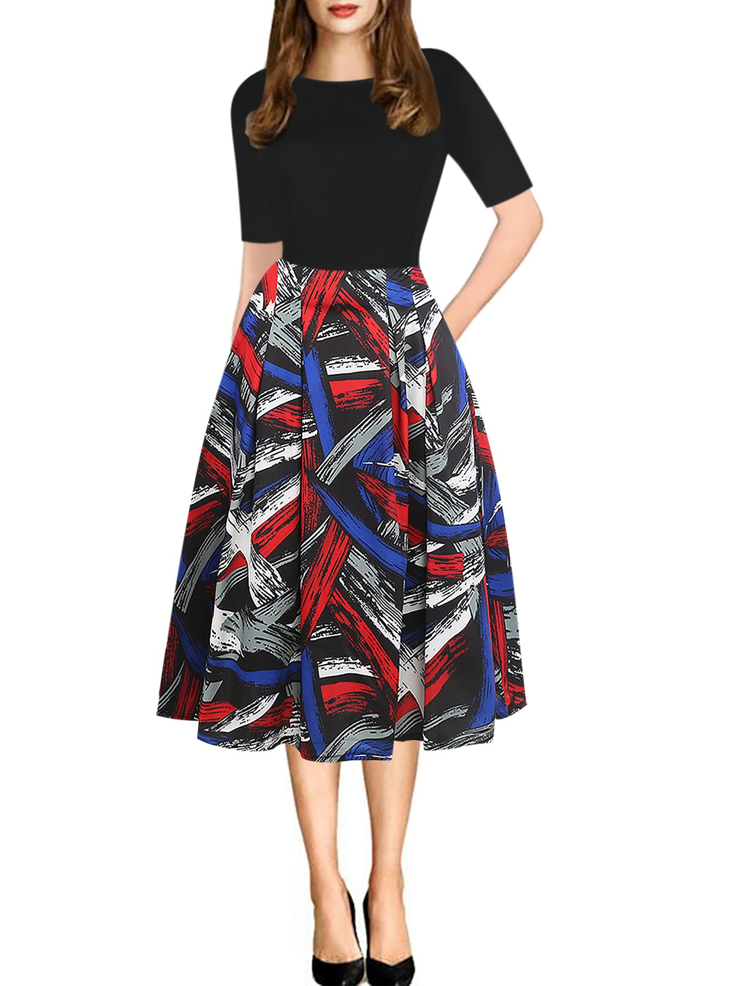 oxiuly Women's Vintage Patchwork Pockets Puffy Swing Casual Party Dress OX165 (3XL, Multi Stripe)