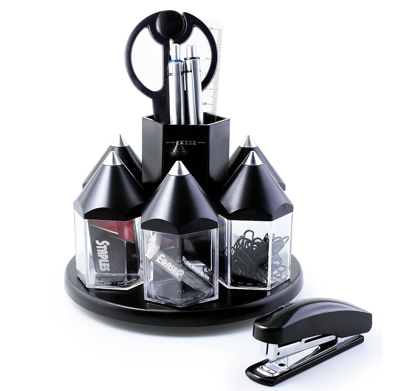 EXERZ EX058 O-Life Organizer da scrivania/ set ruotante portaoggetti da scrivania per penne con 5 scompartimenti per accessori – Diversi colori - riempito con forbici di sicurezza (non taglienti), righello, distributore di nastro adesivo, gomma, graffette
