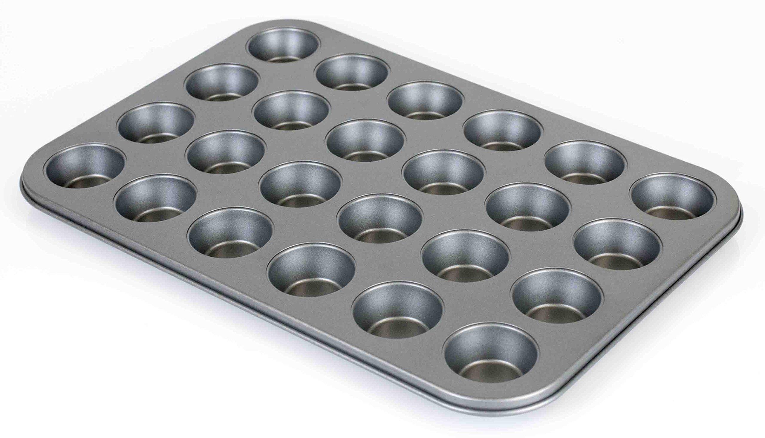 Home Basics 24 Cup Non-Stick Steel Mini Cup Cake Pan, Grey