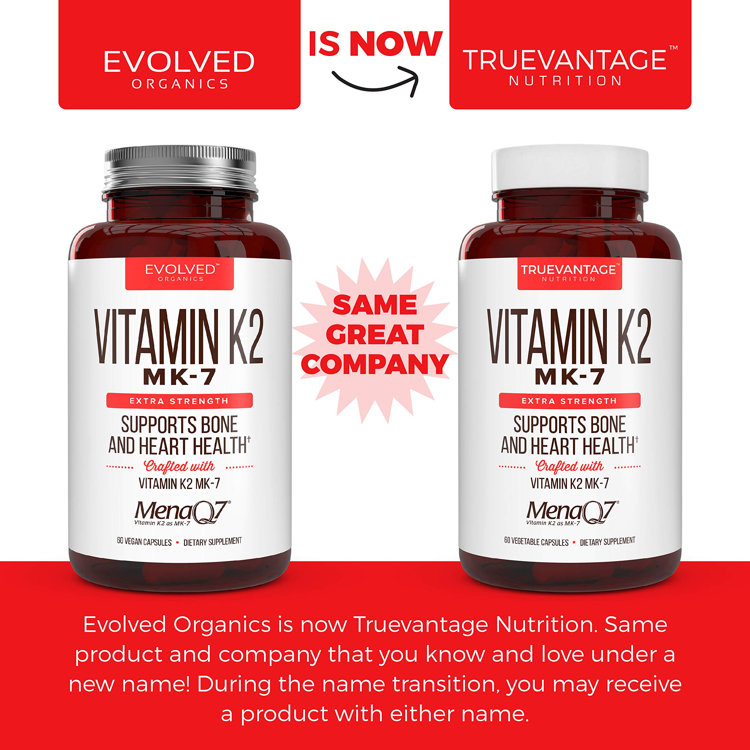 Extra Strength Vitamin K2 Supplement 180mcg - Vitamin k2 Supplement Supports Bone & Heart Health for Cardiovascular Calcium Absorption - 60 Easy to Swallow Vegan caps of Vitamin K2 MK7 (3 Pack) by Truevantage Nutrition (Image #2)