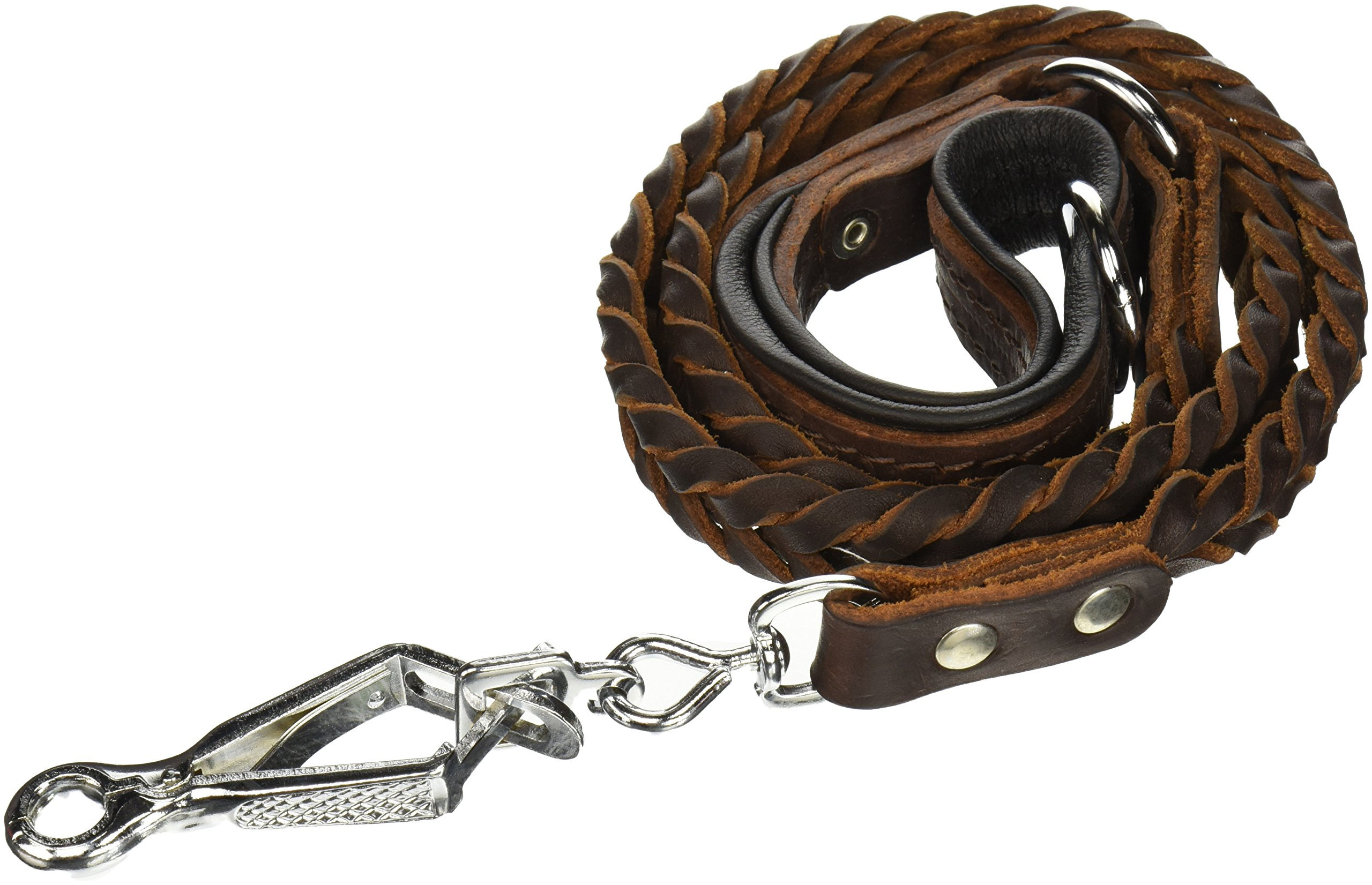 Dean & Tyler Comfort Braid Black Padding Dog Leash with Stainless Steel Ring on Handle and Herm Sprenger Hardware, 4-Feet by 3/4-Inch, Brown