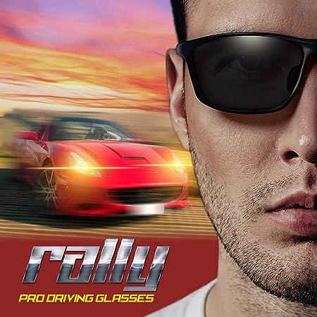 BluPond® Rally visión Nocturna Gafas polarizadas Gafas de Sol, Marco de Metal UV400 para conducción Pesca Tiro con antirreflejo Lente Incluye 5 en 1 Set de ...