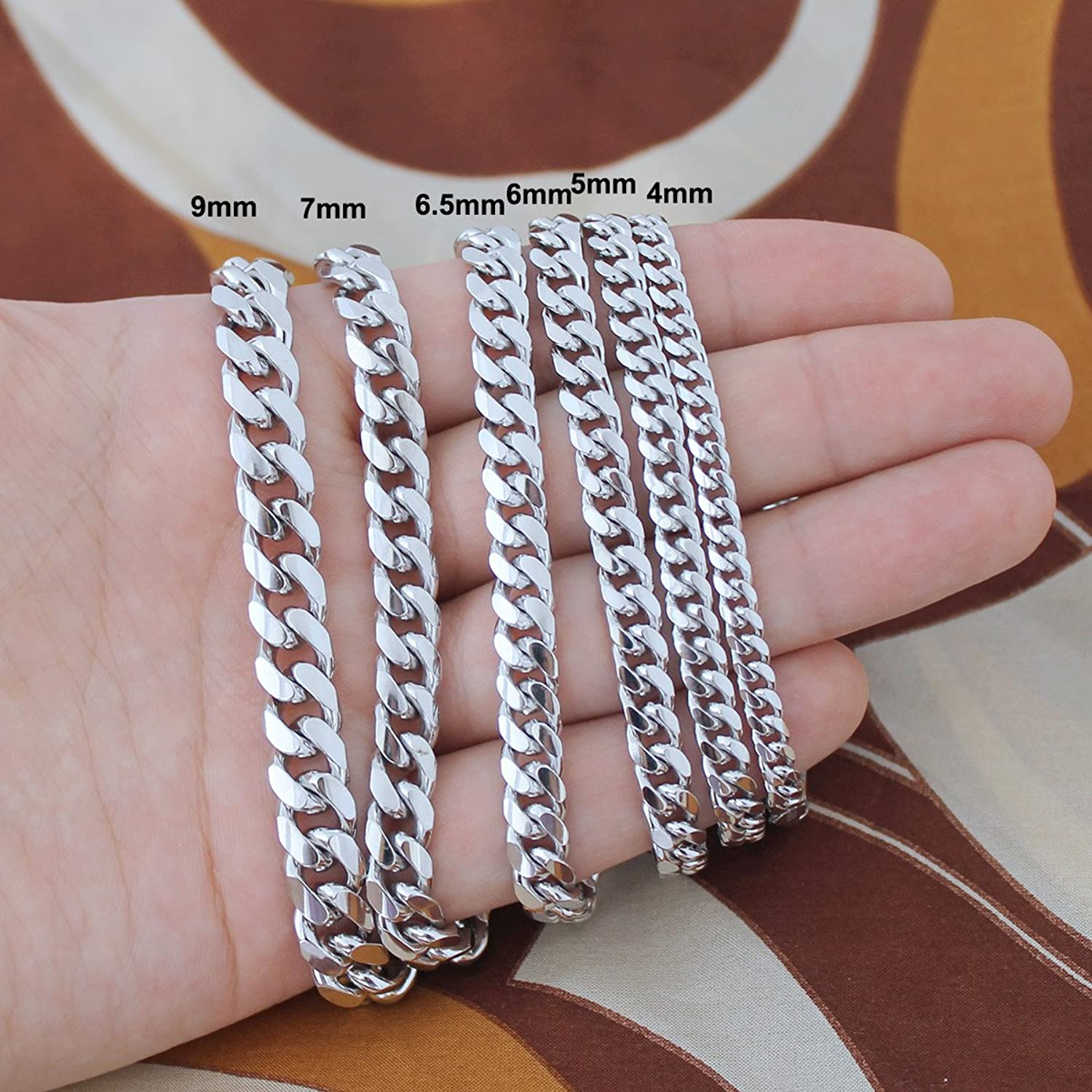 vine sterling silver mens heavy italy 41 3g 7mm curb chain
