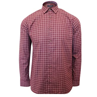 8a077374799129 Ted Baker SHOREDI Mens Dark RED Check Shirt  Amazon.co.uk  Clothing