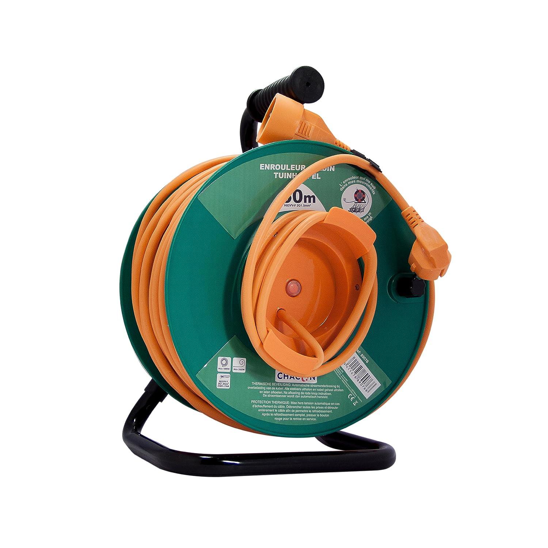 Carrete alargador de cable para jard/ín Chacon 89075 1,5 mm x 25 m con seguridad t/érmica