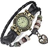 FLORAY Homme et Femme Noir Bracelet en cuir, Belle montre-bracelet, Bracelet réglable Lattice, Concevoir avec Coeur, Cadran rétro. Coffret à bijoux bleu gratuit. Longueur: 17cm - 19.5 cm