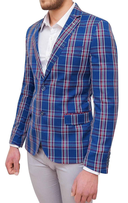 Giacca Uomo Sartoriale Blu Rosso Quadri in Cotone Slim Fit