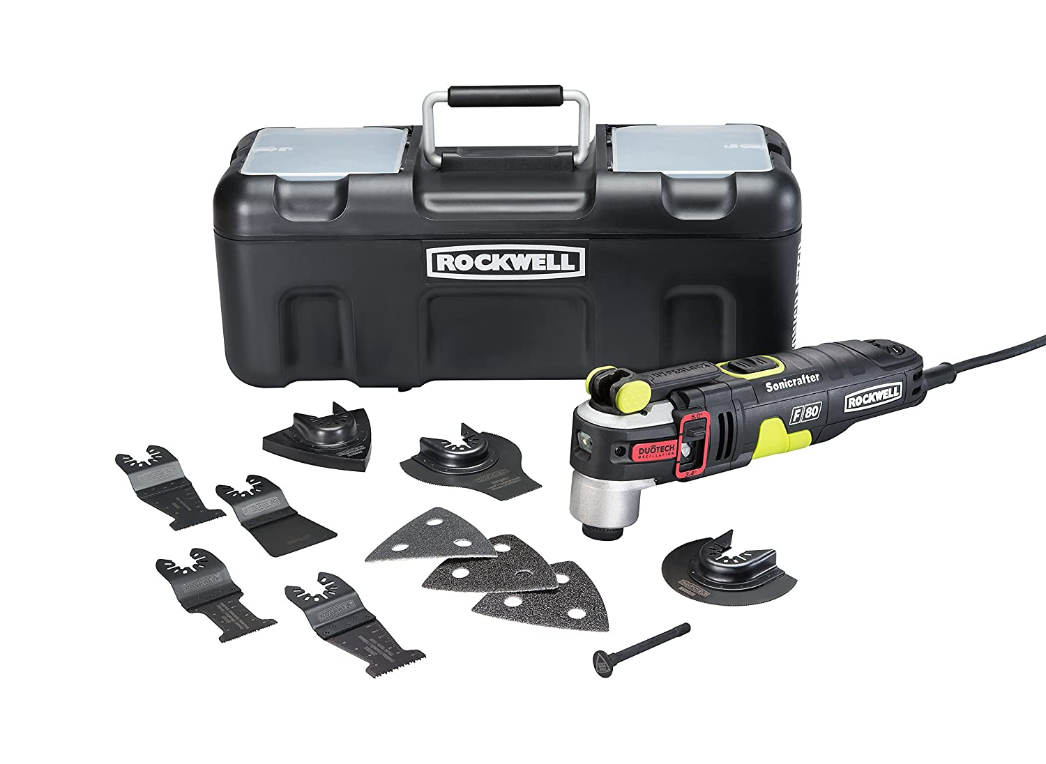 Rockwell RK5151K 4.2 Amp Sonicrafter F80 Oscillating Multi Tool with Duotech Oscillation Angle Technology. 12 Piece Kit includes 10 Accessories Carrying Bag and Oscillating Tool