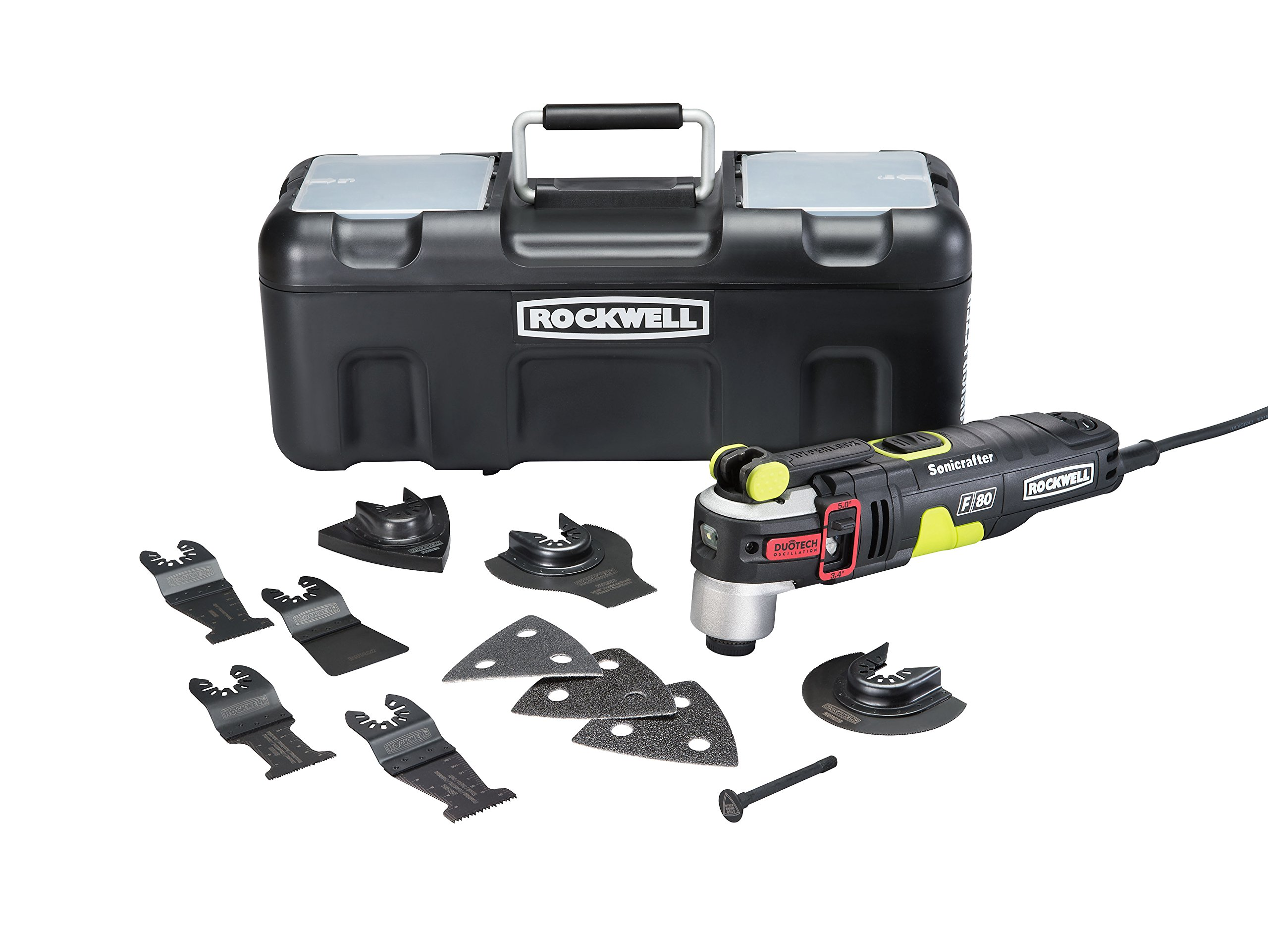 Rockwell RK5151K 4.2 Amp Sonicrafter F80 Oscillating Multi-Tool with Duotech Oscillation Angle Technology. 12 Piece Kit includes 10 Accessories, Carrying Bag, and Oscillating Tool by Rockwell