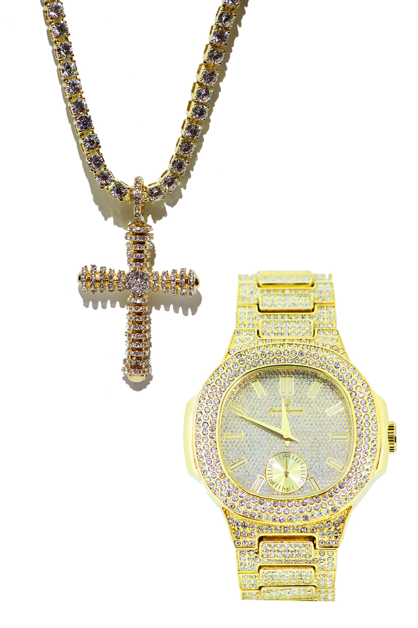 Bling-ed Out Oblong Hip Hop Watch and Iced Out Fully Iced Cross Pendent Necklace Set. Necklace Rhinestones All Around. - 8475w / Cross Necklace Gold