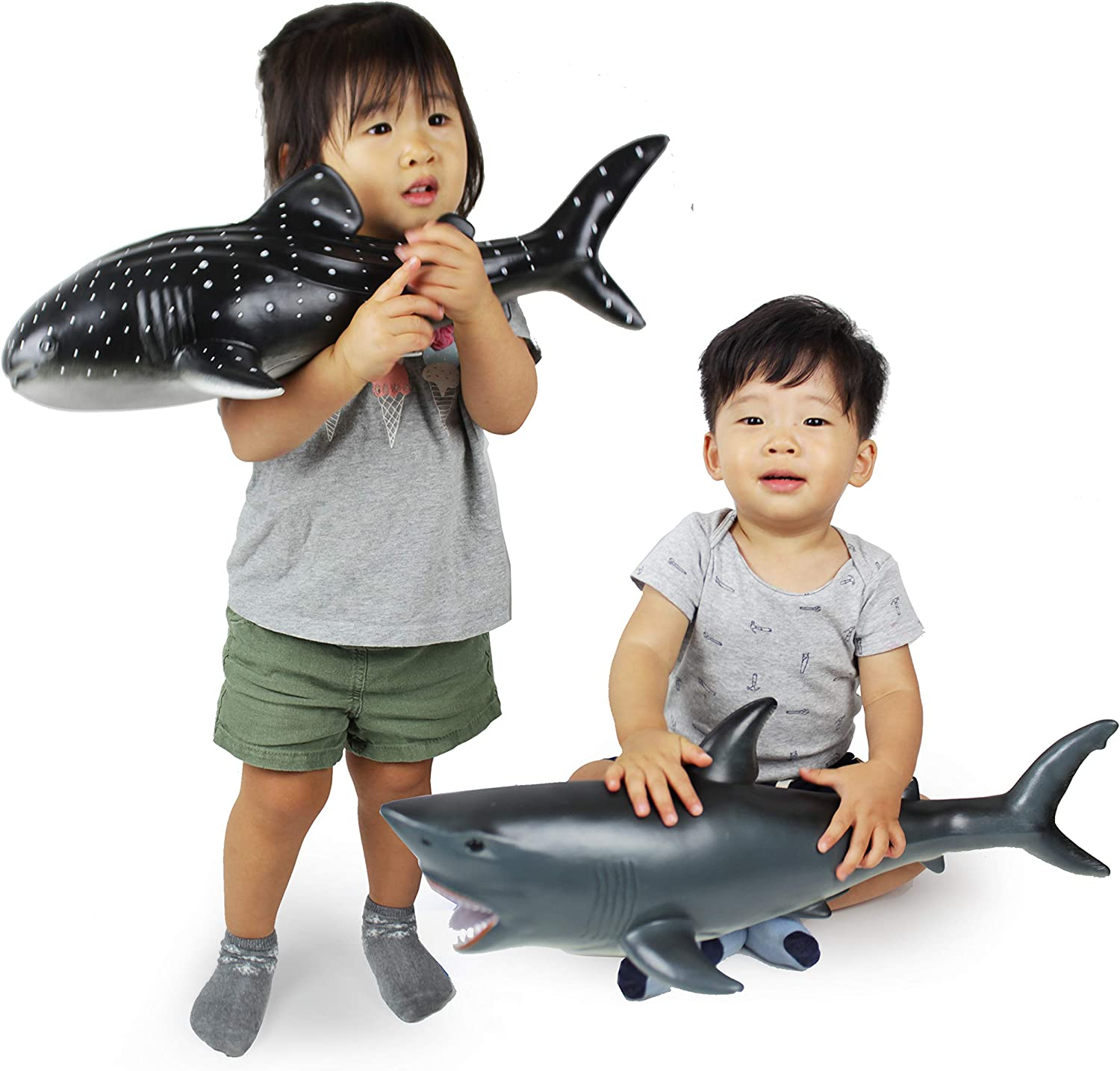 Boley 2 Piece Soft Shark Figure Toys - Realistic Jumbo Large Ocean Whale and Great White Shark - Educational Ocean Creature Toys for Kids, Children, Toddlers