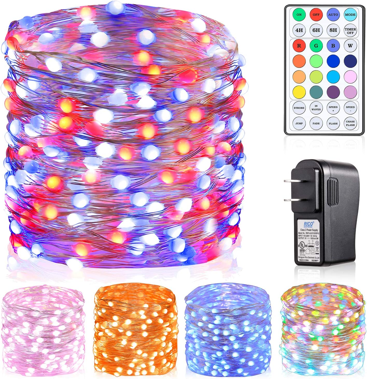 Krislait Color Changing Fairy Lights for Bedroom with Remote USB Plug in Transformer RGB Fairy String Light Outdoor for Christmas Tree, Wedding, Porch, Deck, Ceiling, Garden, Tapestry 33 ft 100 LED