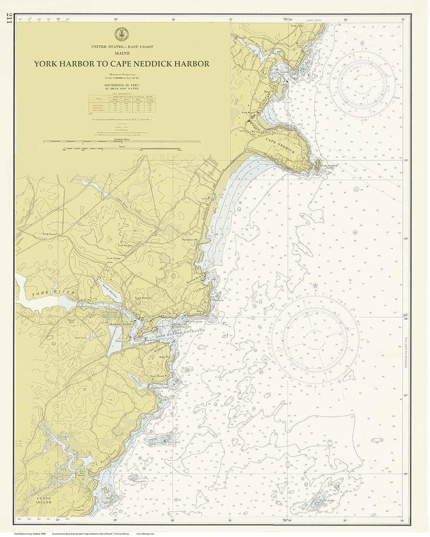 Amazon Com York Harbor Cape Neddick Harbor 1960 Old Map Nautical