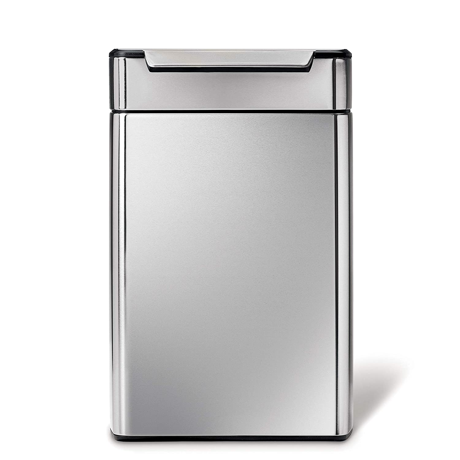 simplehuman 48 Liter / 12.7 Gallon Stainless Steel Touch-Bar Kitchen Dual Compartment Trash Can Recycler, Brushed Stainless Steel