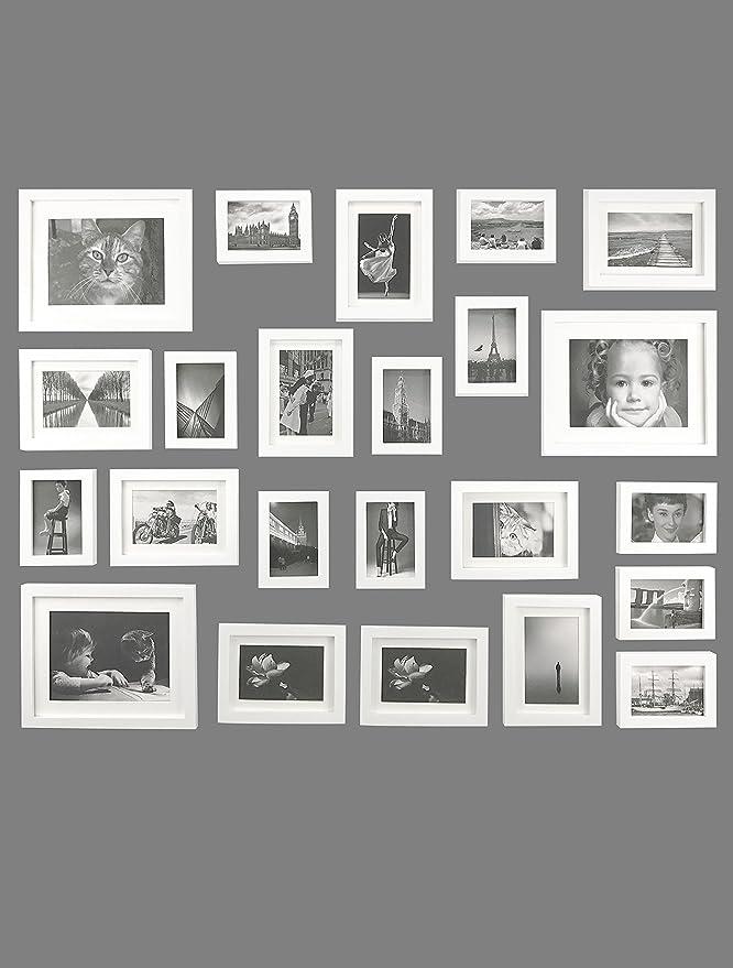Amazon.de: Ray & Chow 23er Weiß Holz Bilderrahmen Wand Set Collage ...