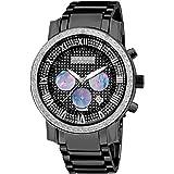Akribos XXIV Mens Diamond Accented Black IP Chronograph Bracelet Watch AK439BK