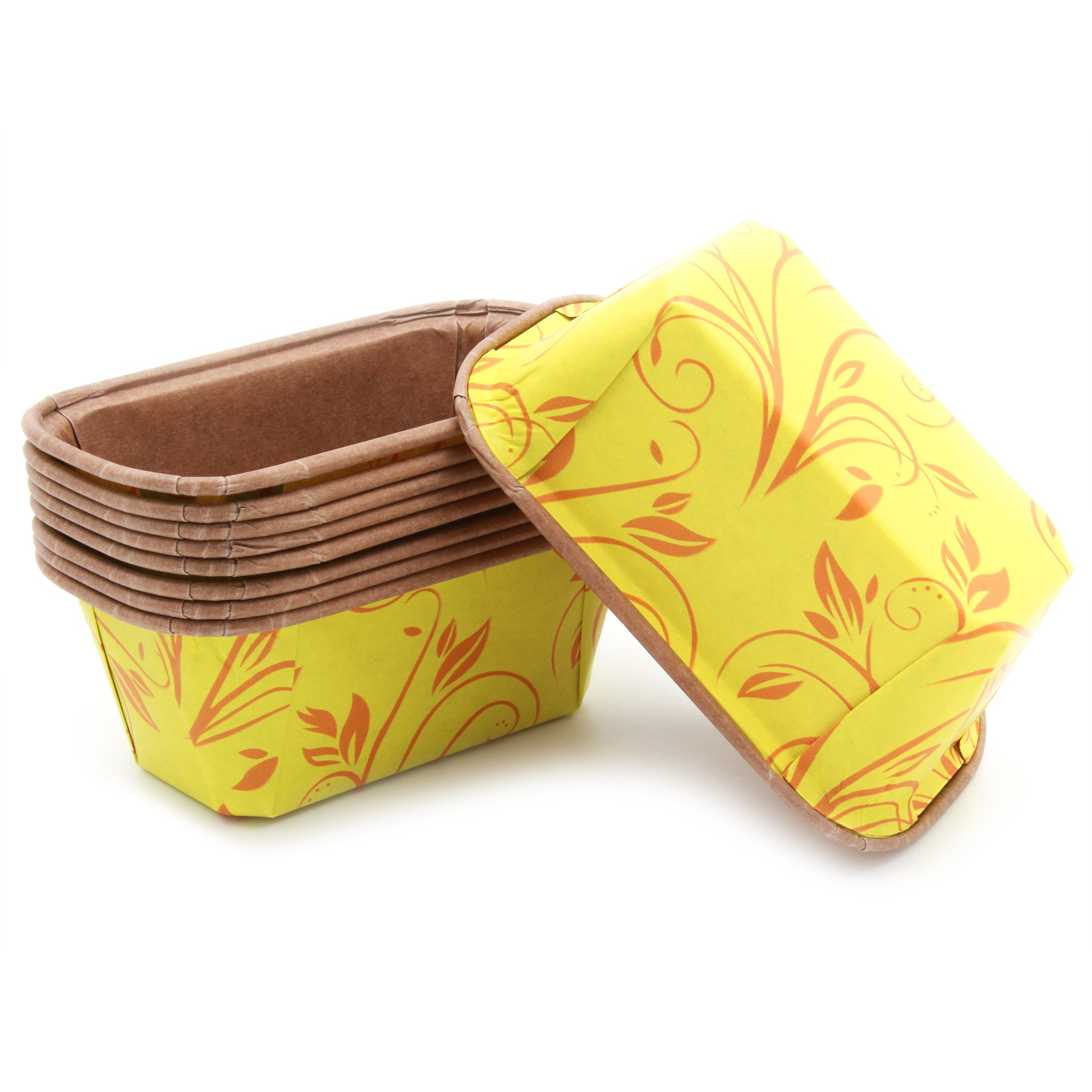 Premium Personal Mini Size Paper Baking Loaf Pan, Perfect for Chocolate Cake, Banana Bread, Yellow with Red Print, Set of 75 - by EcoBake by Ecobake