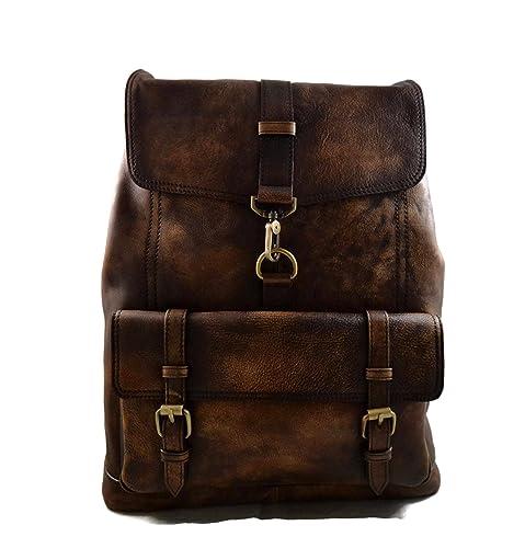 Mochila de piel vintage mochila piel lavada mochila marrón oscuro mujer mochila viaje mochila de cuero
