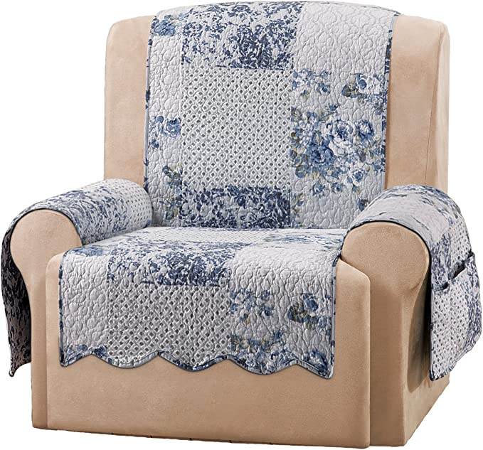 Sure Fit Heirloom Wing Chair/Recliner Furniture Cover - English Rose/Blue (SF46852)