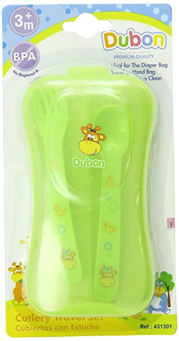 Amazon.com : Bebe Dubon Fork and Spoon with Travel Case, Colors May Vary : Baby Eating Utensils : Baby