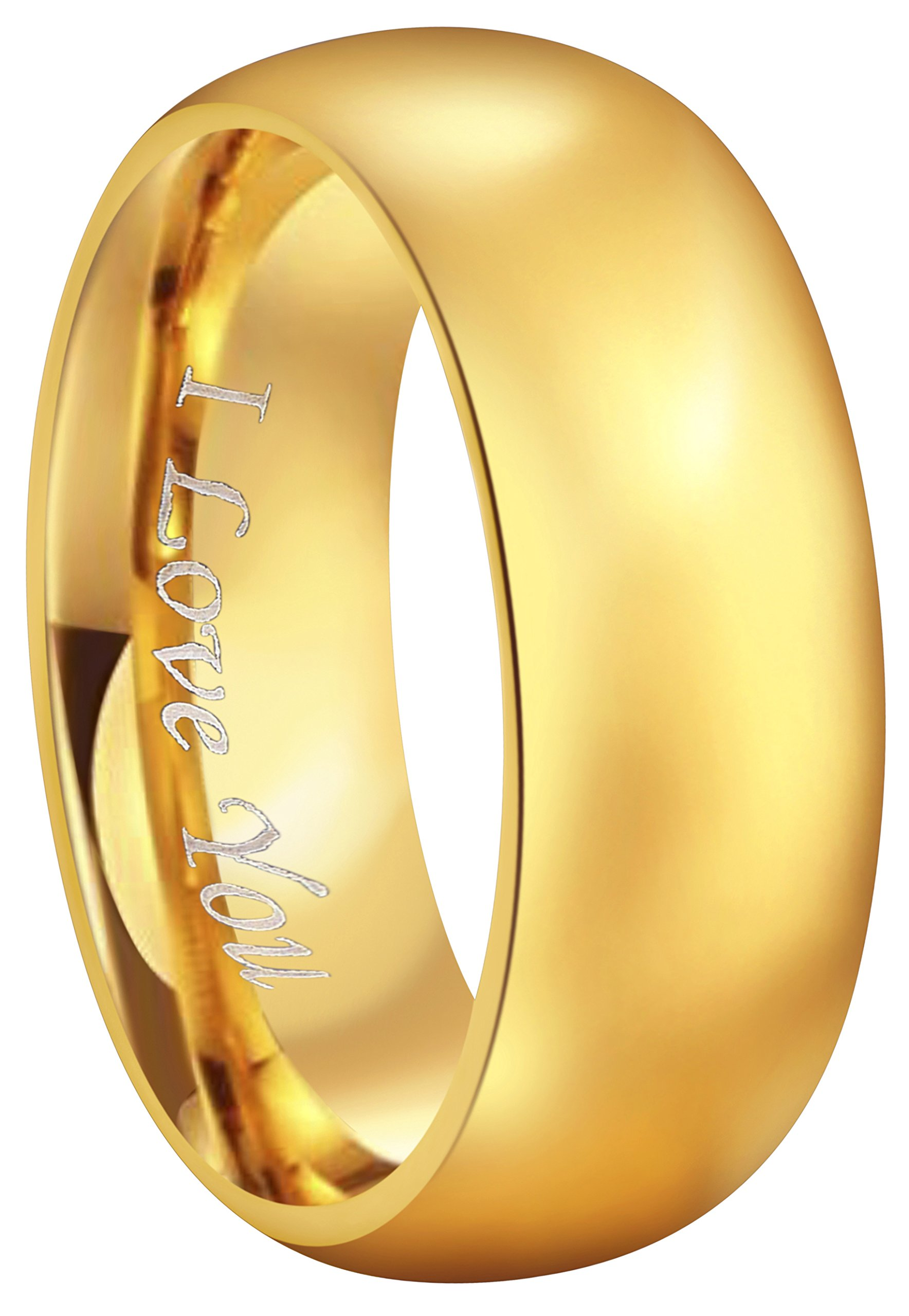 CROWNAL 4mm 6mm 8mm Tungsten Wedding Couple Bands Rings Men Women 24K Gold Plated Plain Dome Polished Engraved I Love You Size 4 To 17 (8mm,11)