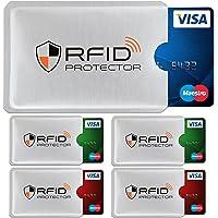 TRAVANDO ® RFID-Schutzhülle Set (5 Stück) für Bankkarte, EC-Karte, Personalausweis, Kreditkarten - 100% Datenschutz durch Kreditkartenhülle/Kartenschutzhülle + 5 Farb-Sticker + GRATIS E-Book,Orange