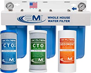 APPLIED MEMBRANES INC. 3-Stage Whole-House Water Filter System with 4.5x10-Inch Sediment and Carbon-Block Filters, Removes Sediment, Chlorine, Chloramine, Chemicals, Taste, and Odor