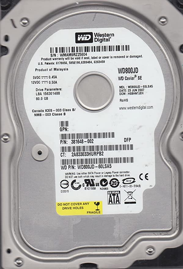WD800JD-55MSA1 Western Digital Caviar SE 80GB SATA Desktop Hard Drive