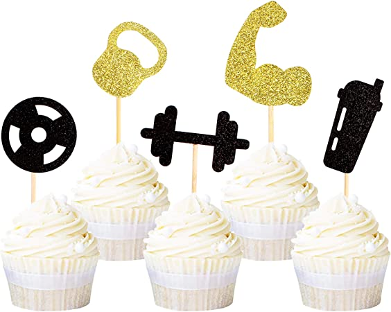 CARD CUPCAKE PICKS Birthday cup cakes 6 x Number 8 Plain or Glitter