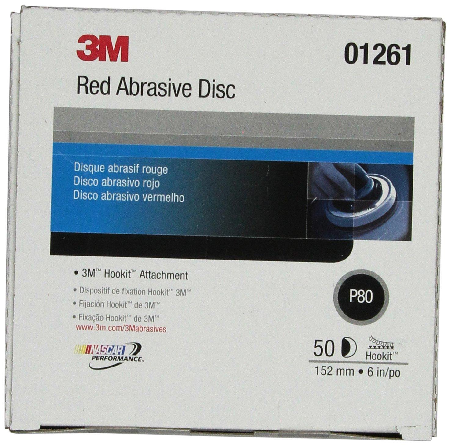 3M Hookit Red Abrasive Disc, 01261, 6 in, P80, 50 discs per carton