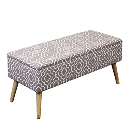Awesome Otto Ben 37 Storage Bench Mid Century Ottoman With Easy Lift Top Upholstered Shoe Ottomans Seats For Entryway And Bedroom Moroccan Grey Frankydiablos Diy Chair Ideas Frankydiabloscom