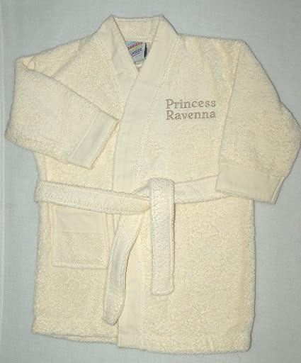 Personalizado para niña de 100% algodón de rizo crema suave albornoz de rizo/albornoz con crema de contraste a Trim. crema Talla:1-2: Amazon.es: Bebé