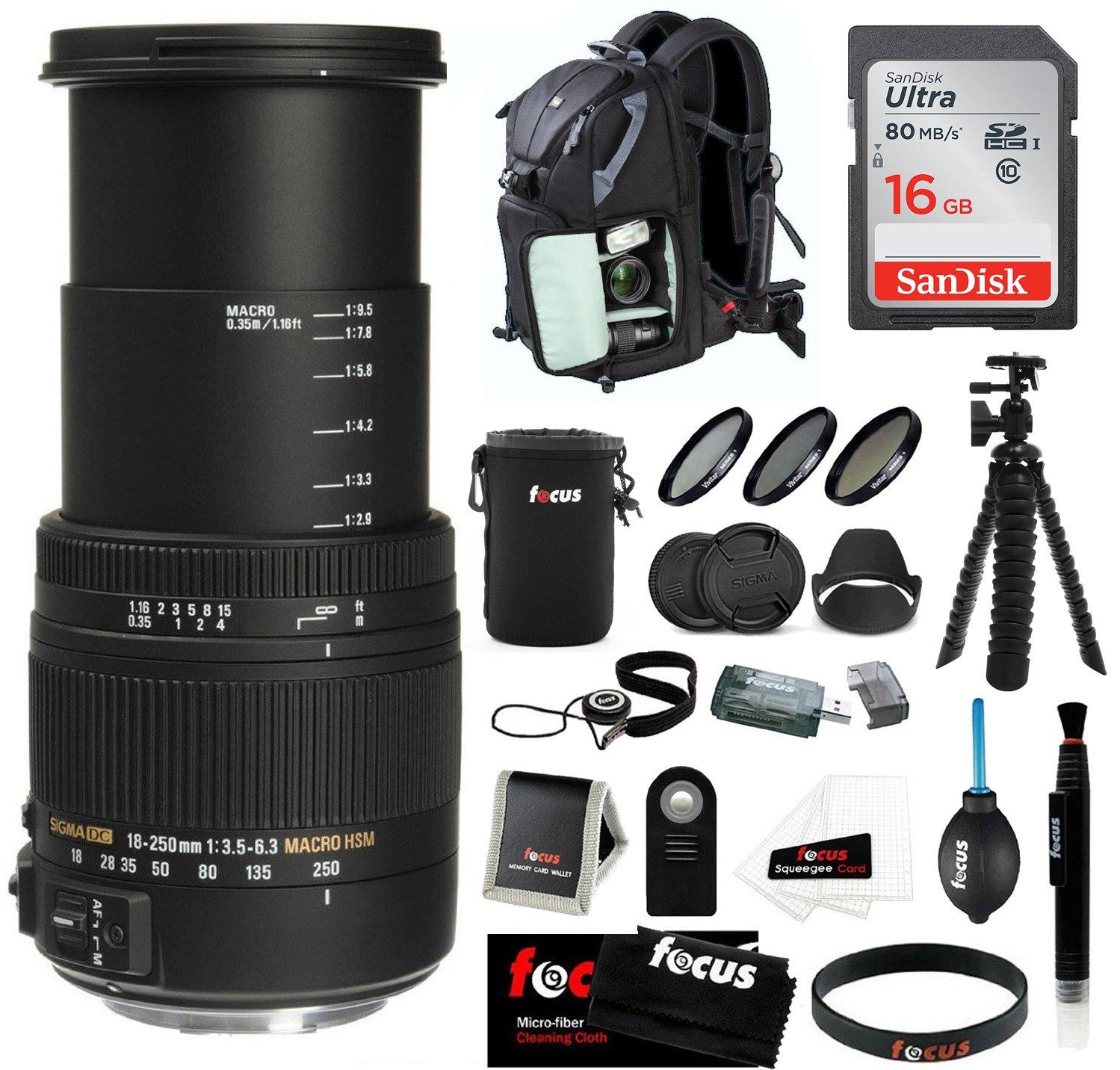 Sigma 18 – 250 mm f / 3.5 – 6.3 DC OS HSMマクロレンズfor Nikon W / 16 GB SDカードバンドル   B0184IG1H0