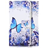 tinxi® Custodia Pelle Artificiale per LG K10 Case Protettivo Cover supporto di stand con slot per schede-farfalla blu