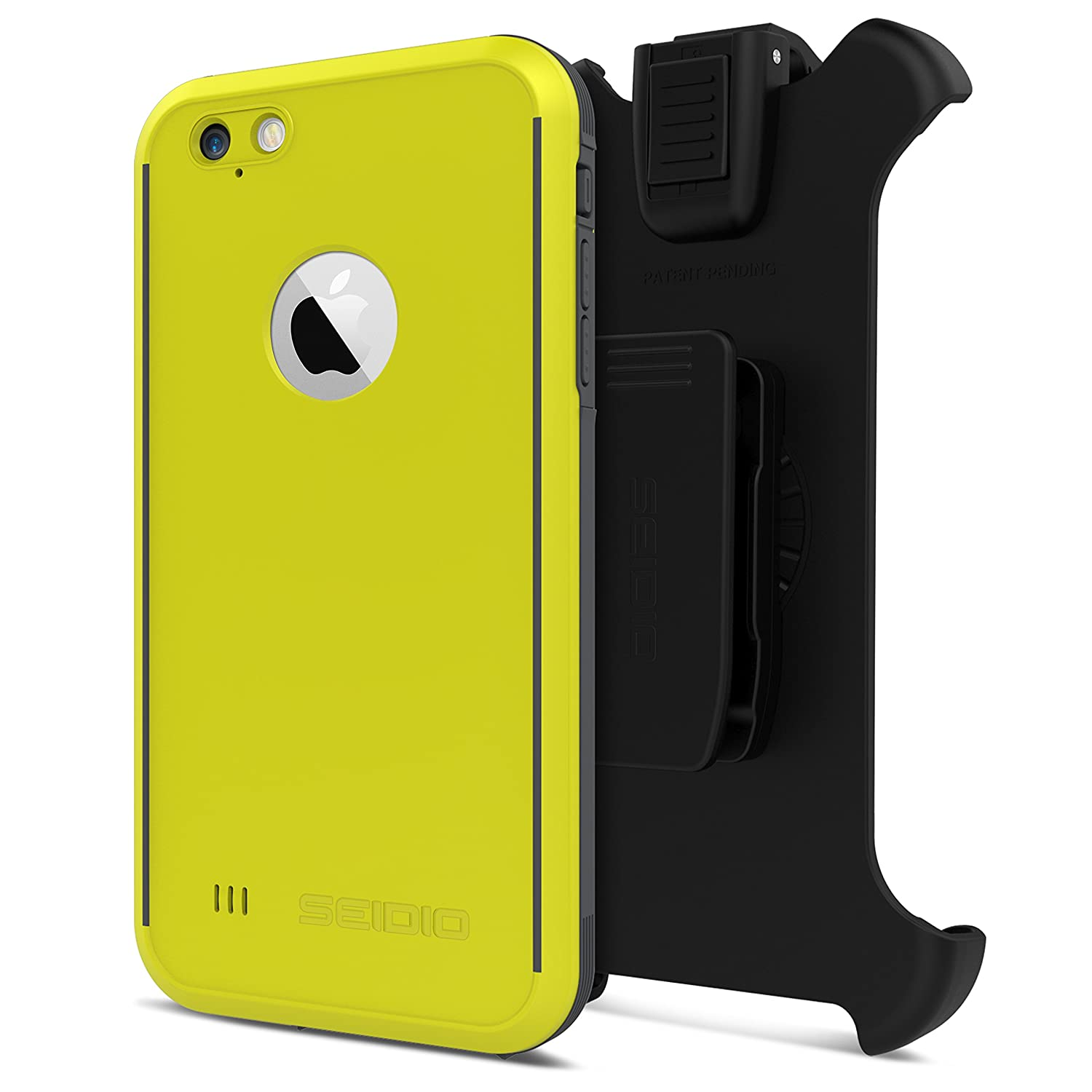 detailed look 041e5 fd3cf Seidio OBEX Waterproof Case and Removable Belt-Clip Holster Combo for the  iPhone 6 Plus/6s Plus [Drop Proof] - Retail Packaging - Yellow/Gray