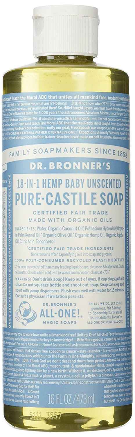 Dr. Bronner's Pure-Castile Liquid Soap - Baby Unscented 16oz.