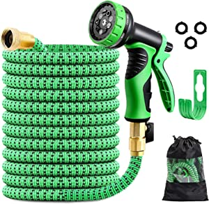 Expandable Garden Hose 50ft, PATHONOR Flexible Water Hose with 9 Function Spray Nozzle, Extra Strength 3750D Durable with Solid Brass Fittings Leakproof Lightweight Retractable Outdoor Yard Hose Pipe