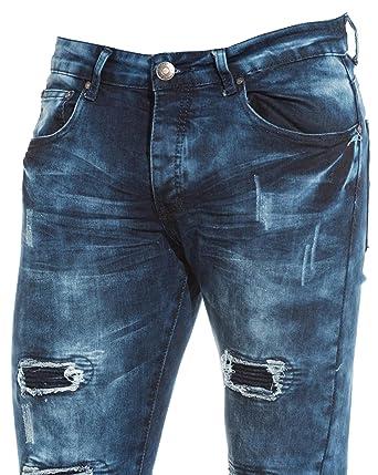 1b888472a96a1 BLZ Jeans - Jean Homme Bleu délavé Destroy Nervures - Couleur  Bleu -  Taille  FR 38 US 30  Amazon.fr  Vêtements et accessoires