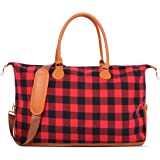 MONOBLANKS Large Red Buffalo Plaid Weekender Overnight Bag with Shoulder Strap Canvas Leather Travel Totes Duffel Bag…