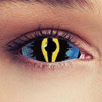 22mm Full Sclera Oeil de chat lentilles de couleur bleu et jaune sans  correction pour halloween 60bfb5f3f596