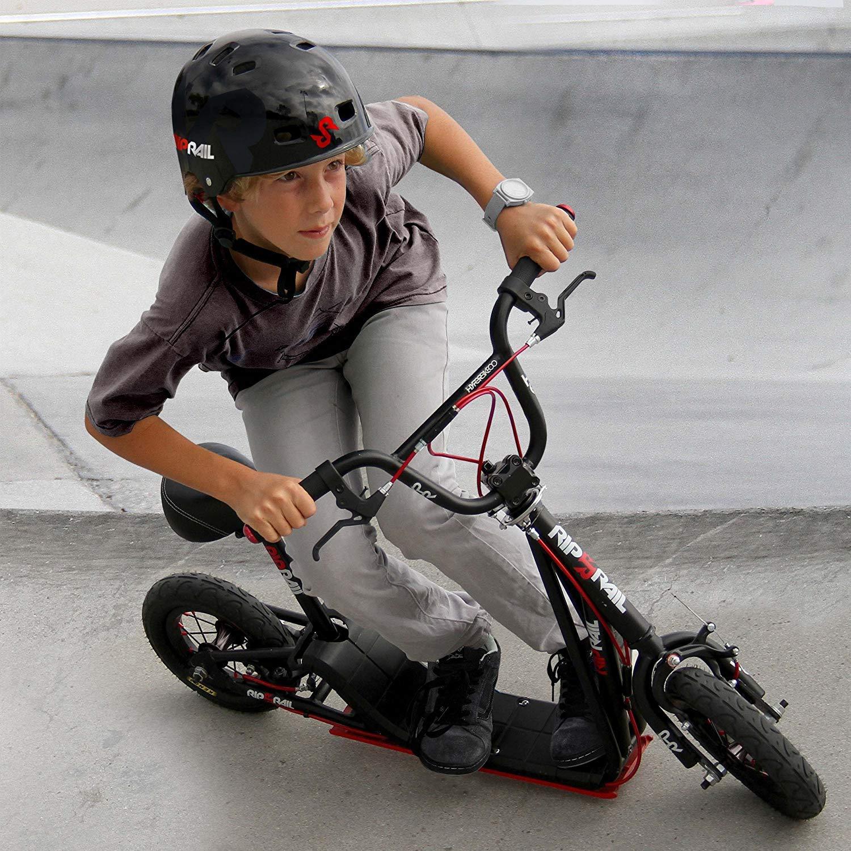 Rip Rail BMX Scooter 360 Degree Handlebar Rotation 10 Wheels Kids 6+ Black