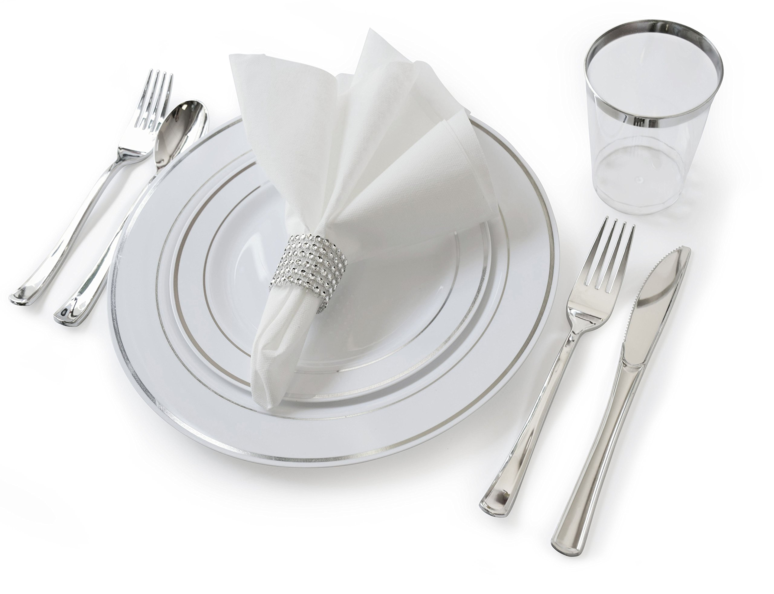''OCCASIONS'' Full set - Wedding Disposable Plastic Plates, plastic silverware, tumblers and linen feel napkins w/napkin rings (120, White and Silver)