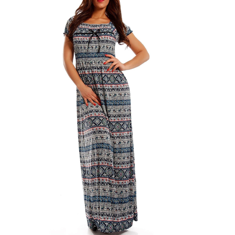 Young-Fashion Maxi-Kleid Carmen kurzarm und mit Ausschnitt - Als stylisches  Strand-Kleid oder Party-Kleid - Langes Kleid für Frühling, Sommer und  Herbst ...