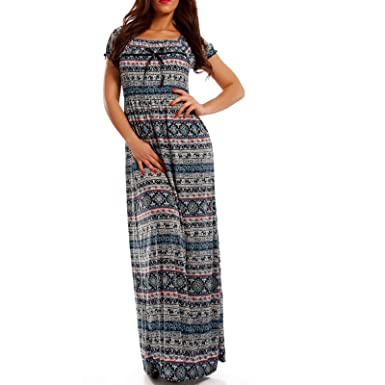 2f3790c82712 Young-Fashion Maxi-Kleid Carmen kurzarm und mit Ausschnitt - Als stylisches  Strand-Kleid oder Party-Kleid - Langes Kleid für Frühling, Sommer und ...