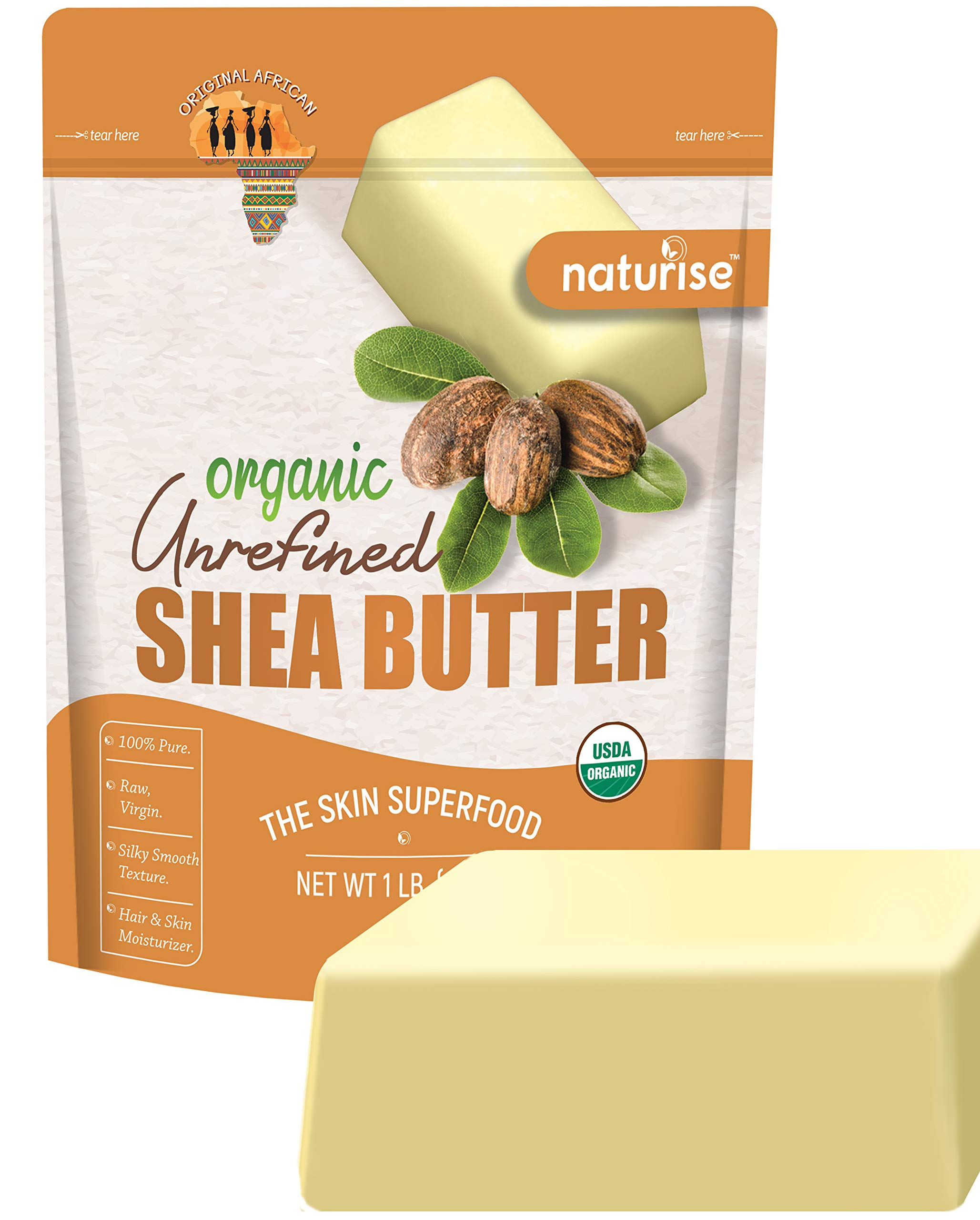 Naturise Shea Butter Raw Organic Unrefined Ivory 16 oz (1 LB) - Highest Grade African Shea Butter - Great for DIY Skincare Products and Body Butter Moisturizer for Dry Skin, Eczema, and Hair Care by Naturise