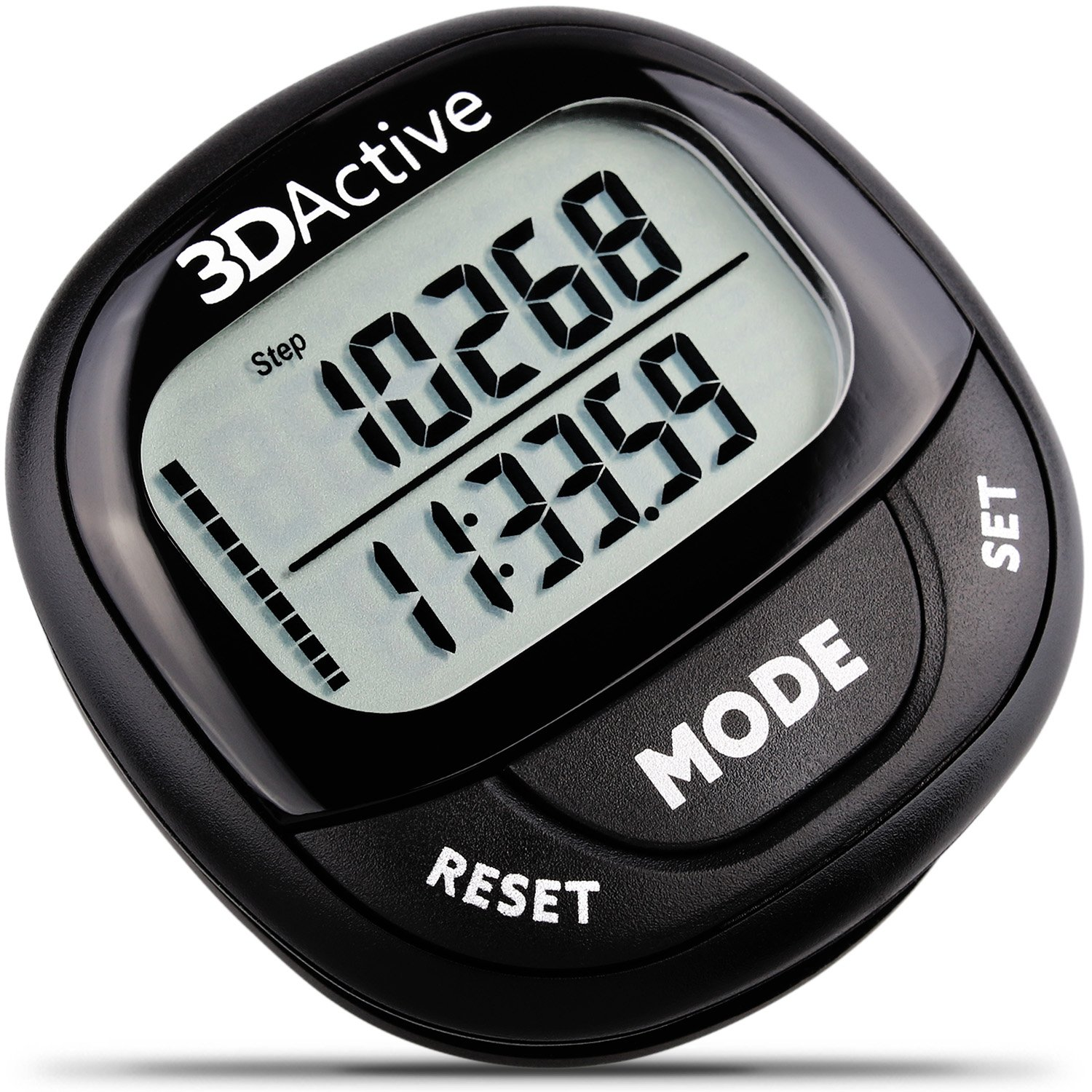 3DActive 3D Pedometer PDA-100| Best Pedometer for Walking with 30-Days Memory. Accurate Step Counter, Calorie Counter, Distance Miles/Km & Daily Target Monitor. (Black/Black)