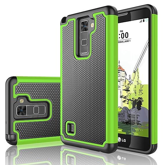 brand new 8b995 ea3b9 LG Stylo 2 Case, LG Stylus 2/Stylo 2V Case, Tekcoo [Tmajor Series] [Green]  Shock Absorbing Hybrid Rubber Plastic Impact Defender Rugged Slim Hard Case  ...